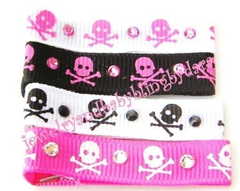Boutique Set of 4 PUNK SKULL AND CROSSBONES Rhinestone Crystal Hair Bling Clippies - Clips