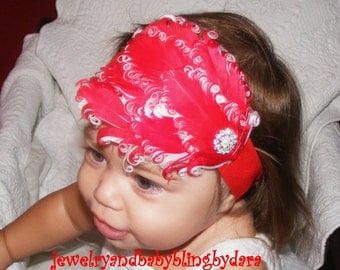 Red Feather Headband Custom Boutique  Infant Toddler Girl Stunning Red and White Holiday Feather Rhinestone Headband