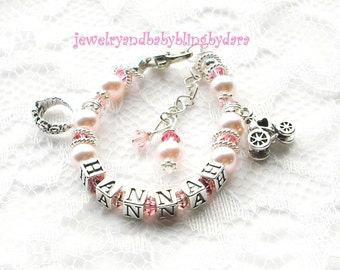 Child Name Bracelet Custom Boutique Baby Girl Child PRINCESS Pink Pearl Crystal Floating Name Bracelet