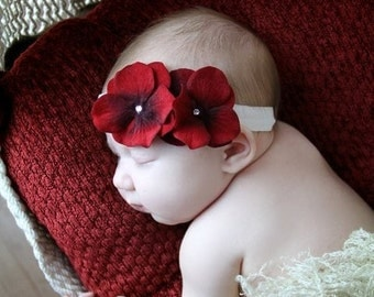Velvet Red Double Dainty Flower Headband with Swarovski Crystal Center on Soft Ribbon Headband GREAT for CHRISTMAS