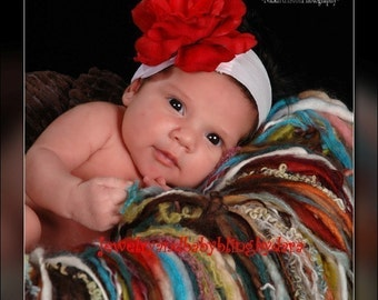 Stunning Red Rose on Super Soft Nylon Headband With Swarovski Bling Center Newborns to Adults
