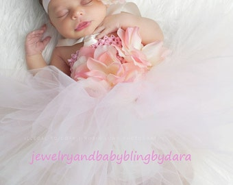 Custom Boutique Baby Bling Pink and Cream Rose Tutudress Gorgeous for Weddings Valentines Day Holidays and Portraits Birthdays