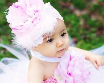 Headband Pink Peony Flower Lace Headband With Pearl Rhinestone Marabou Feather French Netting Accents Fits Infants through Adults