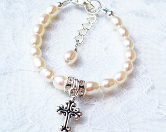 Boutique Baby  Girl Child Holy First Communion, Baptism, Christening Sterling Silver Crystal Freshwater Pearl Cross Charm Bracelet