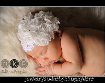 Le Fleur White Shabby Chic Fabric Rose Swarovski Crystal White Lace Headband Newborn to Adults ..Weddings Christenings Blessings