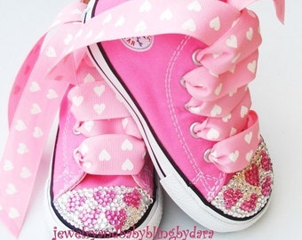 Infant Toddler Bling PINK HEARTS Crystal Pink Converse Hi-Top Sneakers Shoes