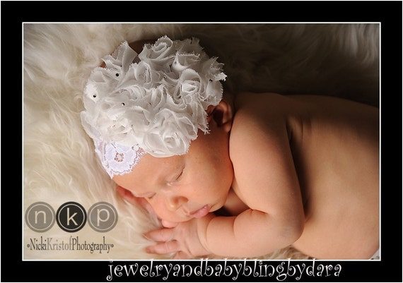 Special Occasion Le Fleur White Shabby Chic Fabric Rose Swarovski Crystal White Lace Headband Fits Newborn Infants through Adults .. Perfect for Weddings Christenings and Blessings