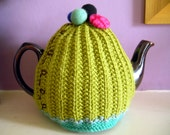 Hand Knitted Tea Cozy - Lime Green