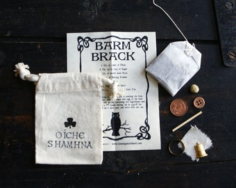 Halloween Samhain Irish Barm Brack Fruitcake Recipe and Traditional Charms in Muslin Bag