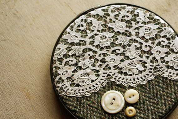 Vintage tweed lace embroidery hoop wall art by homespunireland