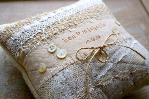 Items similar to custom personalized vintage lace wedding ring bearer pillow - Porte alliance original ...