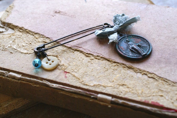 Vintage Religious Medal Safety Pin Brooch -- Handmade in Ireland