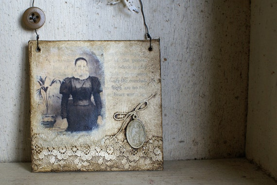 Mixed Media Original Collage 4x4 Canvas with Wire Hanger -- Handmade in Ireland