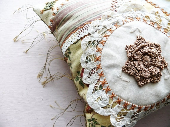 Crazy Quilt Embroidered Cushion, Pillow -- Creme Caramel --  Made in Ireland