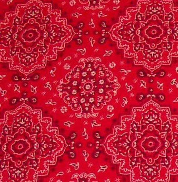 Red Bandana Motif Fabric Half Yard By Daniellediy On Etsy