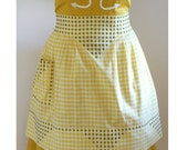 1950s Yellow Gingham Apron - Hand Embroidered