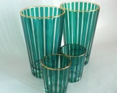 Green Striped Highball and Shot Glasses - Vintage 60s