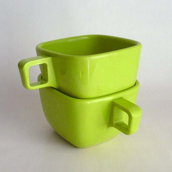 Chartreuse Melmac Mugs - Vintage 1950s