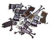 Robot Sticker Pack - 12 Hand Cut Stickers