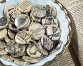 Magical Mystery Set - 4 - Vintage Dictionary Buttons One Inch