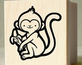 Cheeky Monkey Rubber Stamp - wood mounted, deep etched, red rubber stamp