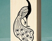 Royal Peacock Art Rubber Stamp - wood mounted, deep etched, red rubber stamp