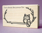 Owl and Branch Ex Libris Bookplate Rubber Stamp - wood mounted, deep etched, red rubber stamp