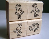 Alice in Wonderland Rubber Stamp Set