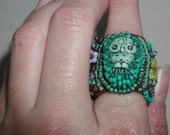 Turquoise Owl Beaded Ring