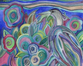 Heron Along the Shore Original Watercolor by Megan Noel
