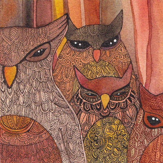 Parliament of Owls Original Watercolor