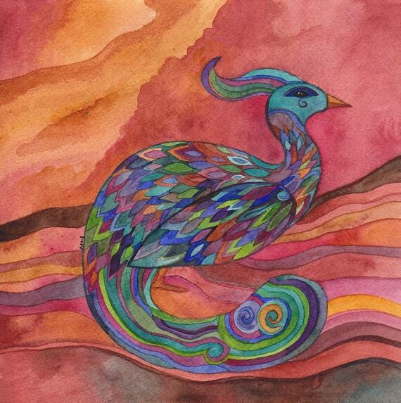 Peacock at Sunset Original Watercolor by Megan Noel