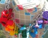 rainbow plastic charm necklace