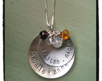 Custom Name Necklace For Moms and Grandmoms with Birthstones