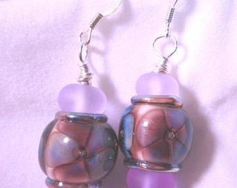 Plum Flower and Violet Beads Earrings