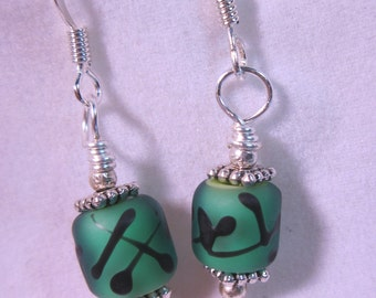 Green Etched Black Abstract Earrngs