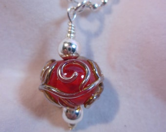 Red Silver Scroll Necklace
