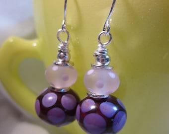 Dark Rose Pink Dots Spacers Earrings
