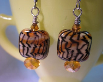 Tiger Beads with Topaz Earrings