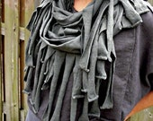 FALL SAMPLE SALE. The Fringe times Infinity Scarf in Organic Hemp Jersey. Ready to ship. One size in color Gunmetal.