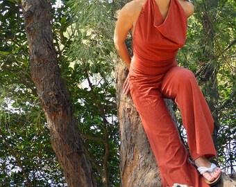 White Tara Jumpsuit in Organic Cotton Hemp. Made to order.