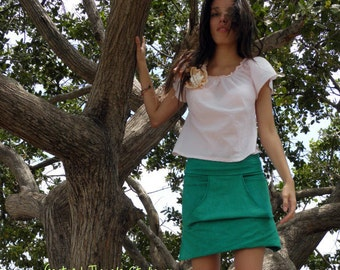 The Roo Pocket Skirt in Organic Hemp Jersey. Made to order.