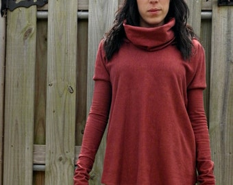 The Oasis Hooded Cowl Tunic in Organic Hemp Jersey. Made to order.
