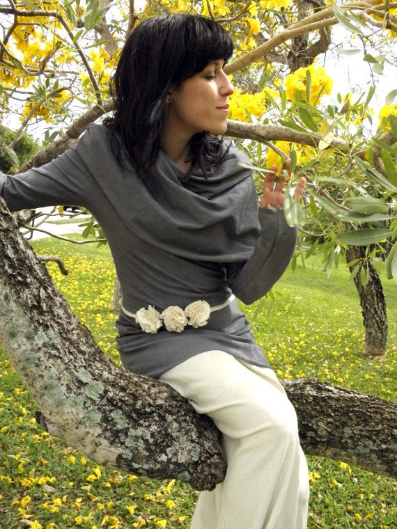 SPRING SAMPLE SALE. Autumn Leaves are Falling Cowl Tunic in Organic Hemp Jersey. Organic hemp clothing handmade and hand dyed in Asheville.
