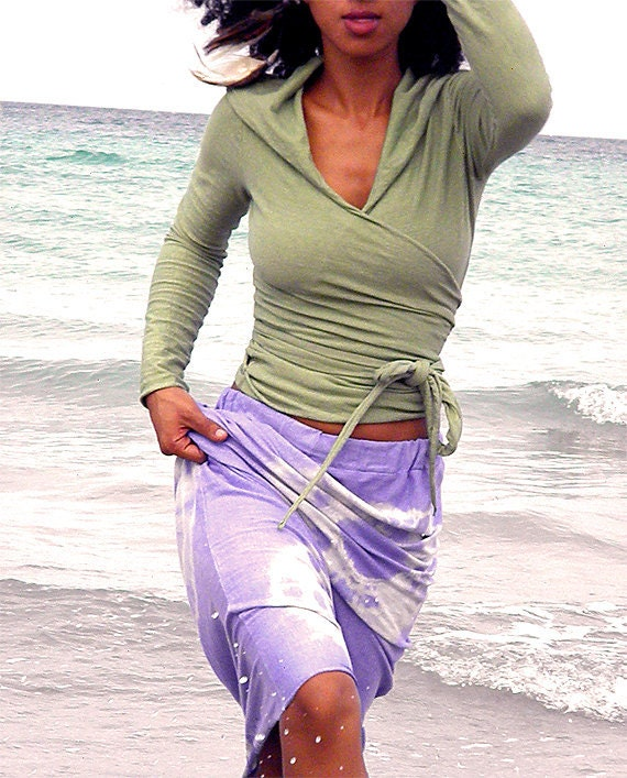 Rajasthan Wrap Hoodie in Organic Hemp Jersey.Made to order.