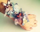 Fluttery Butterflies wide Cuff Bracelet or Anklet