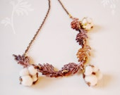 Cotton Field Necklace with Raw brass leaves