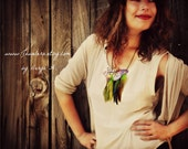 1/2 OFF SALE Fluttery Butterfly Bib Necklace with Feathers One of a Kind
