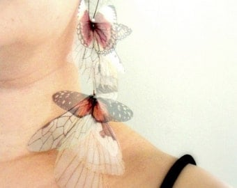 Long Fluttery Cluster Earring - Statement piece SINGLE