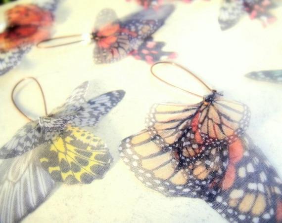 Butterflies all Over Organza Earrings PAIR